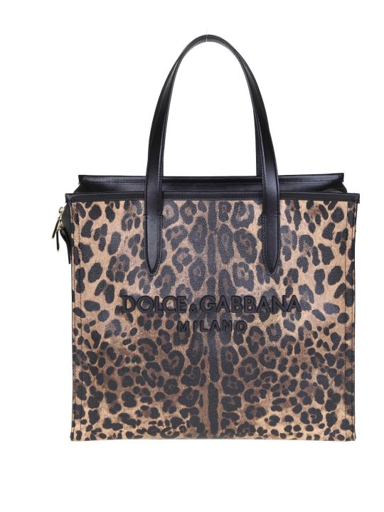 Dolce & Gabbana Shopping Market Bag In Crespo With Leopard Print
