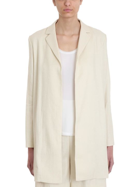 Theory Overlay Luxe Beige Linen And Cotton Blazer