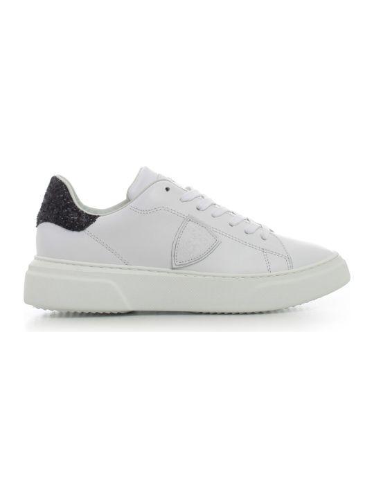Philippe Model Sneakers White Black Glitter Heel