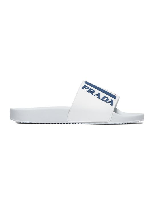 Prada Linea Rossa Graphic Logo Pool Sliders