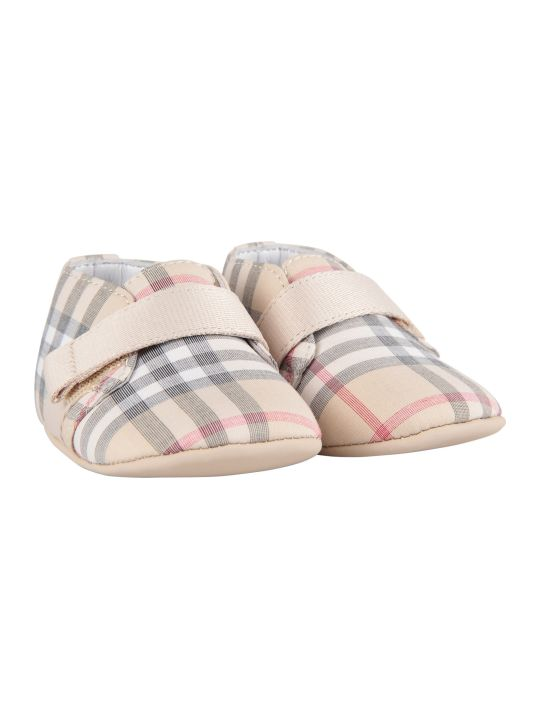 Burberry Beige Babykids Shoes With Classic Check