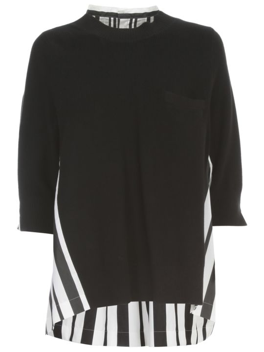 Sacai Cotton Poplin Pullover W/stripes
