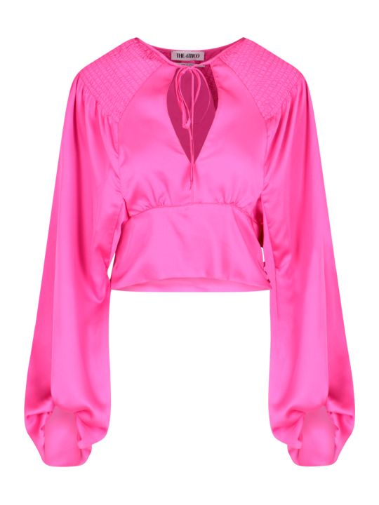 The Attico Curled Shoulder Blouse