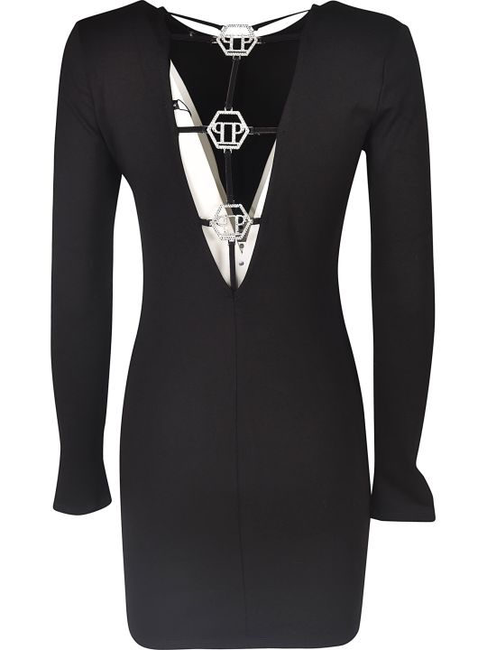Philipp Plein Boat Neck Short Dress