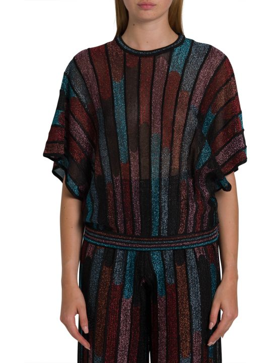 M Missoni Lurex Knit Top With Striped Motif