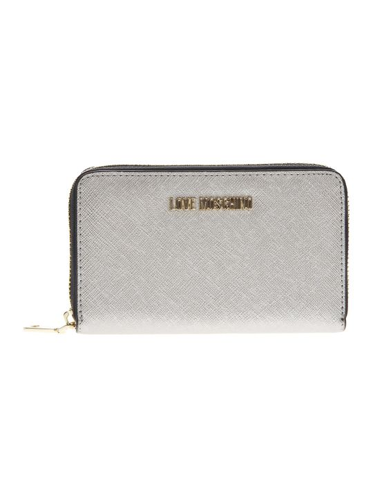 Love Moschino Silver Eco Leather Continental Wallet