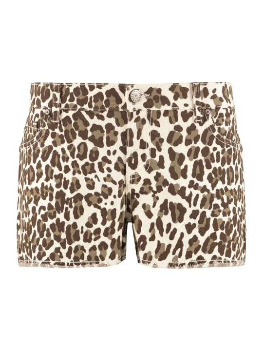 Parosh Printed Denim Shorts