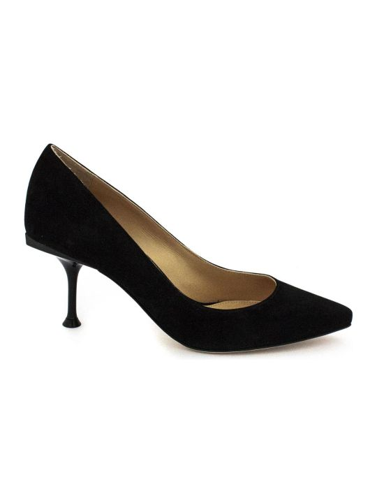 Sergio Rossi Black Suede Leather Pointed-toe Decollete'.