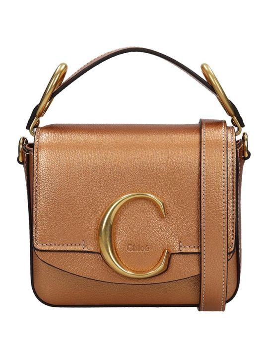 Chloé Chloe C Hand Bag In Bronze Leather