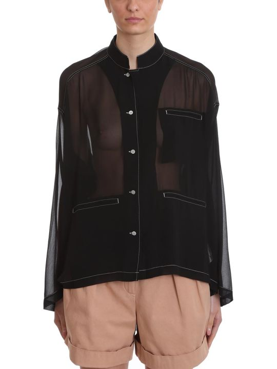 Acne Studios Shana Poly Shirt In Black Polyester