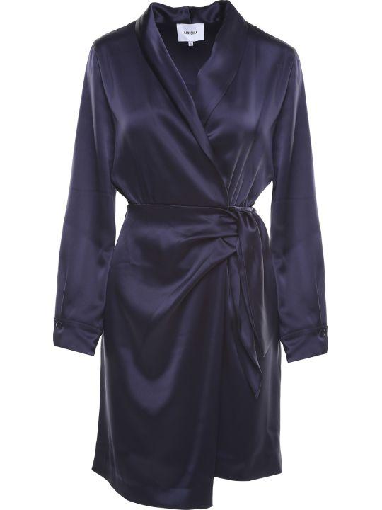 Nanushka Siwa Satin Wrap Midi Dress
