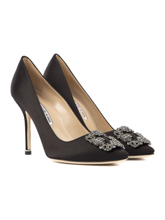 Manolo Blahnik Hangisi Black Satin & Leather Pumps