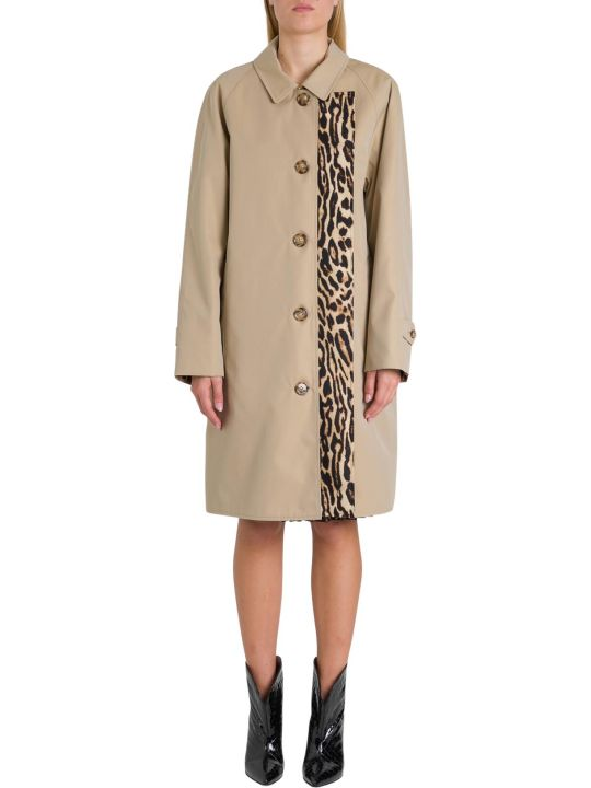 Burberry Walterstone Coat With Leopard Panel