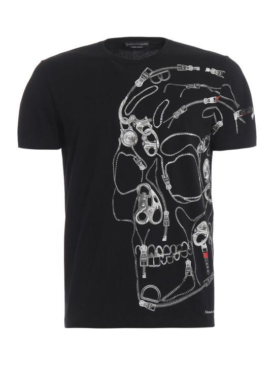 Alexander McQueen Zip Skull Print T-shirt