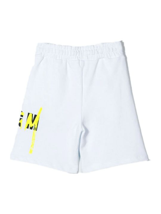MSGM White Cotton Logo Print Track Shorts