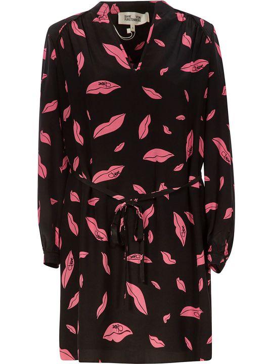 Diane Von Furstenberg Falling Lips Print Dress