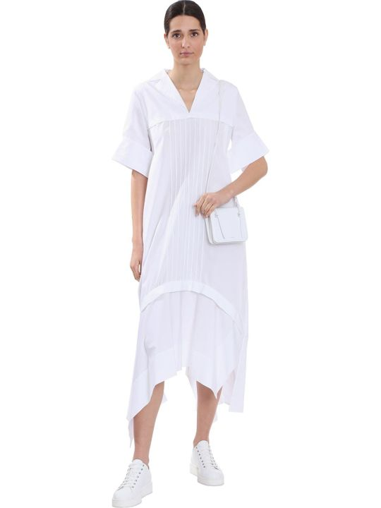 Jil Sander Minerva Dress In White Cotton