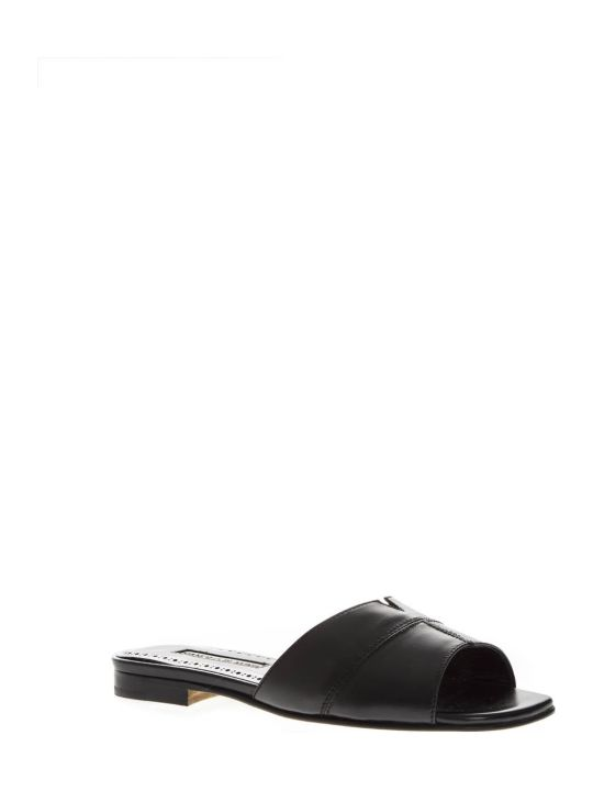 Manolo Blahnik Black Leather Slippers