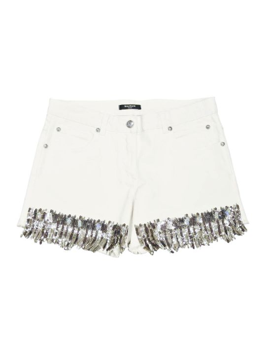 Balmain White Denim Bermuda Shorts With Application