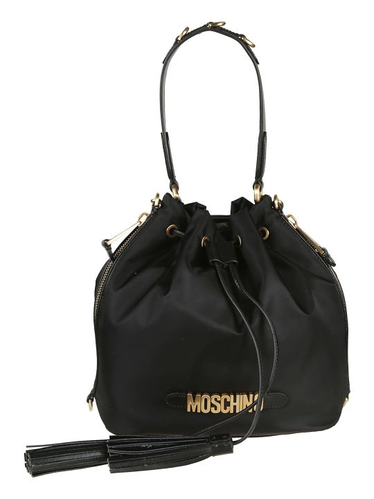 Moschino Logo Plaque Bucket Bag