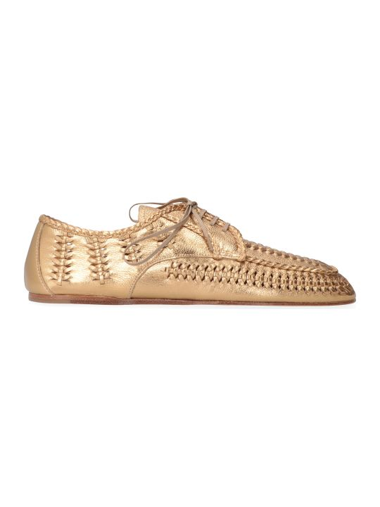 Prada Metallic Leather Lace-up Shoes