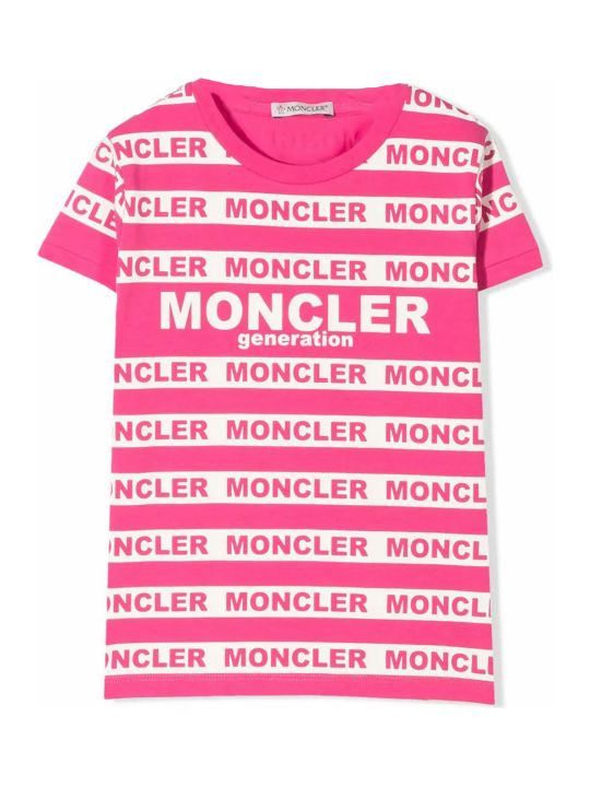 Moncler Pink Cotton Blend Striped T-shirt