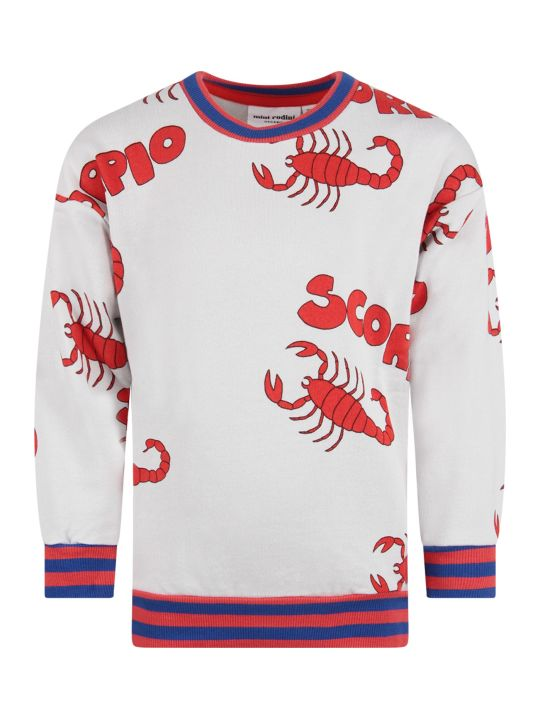 Mini Rodini Grey Kids Sweatshirt With Red Scorpions