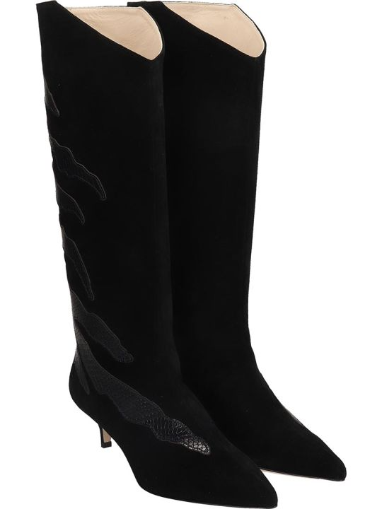 GIA COUTURE Low Heels Boots In Black Suede