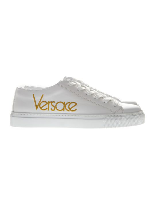 Versace White Sneakers With Embroidered Logo