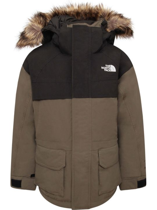 The North Face Military Green And Black Boy With White Logo