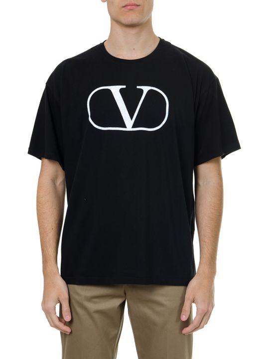 Valentino Black Cotton V Logo T Shirt