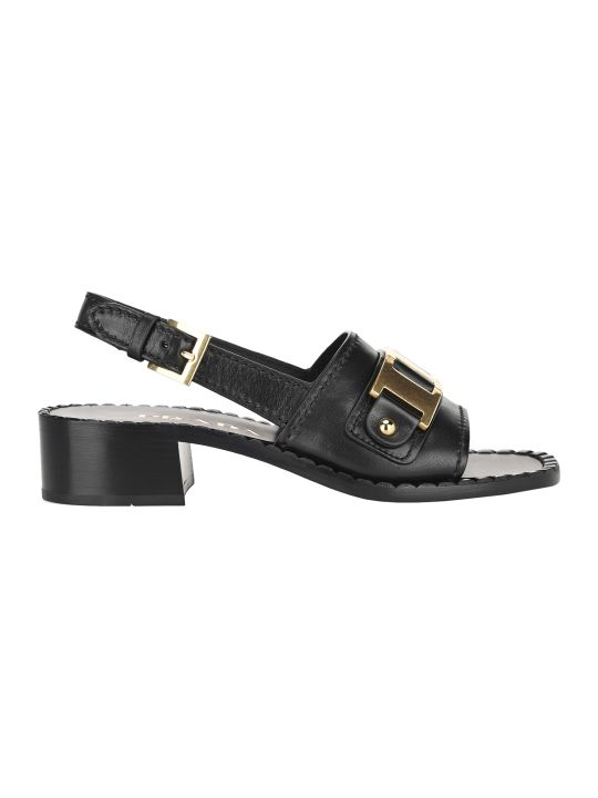 Prada Metal Detail Leather Sandals