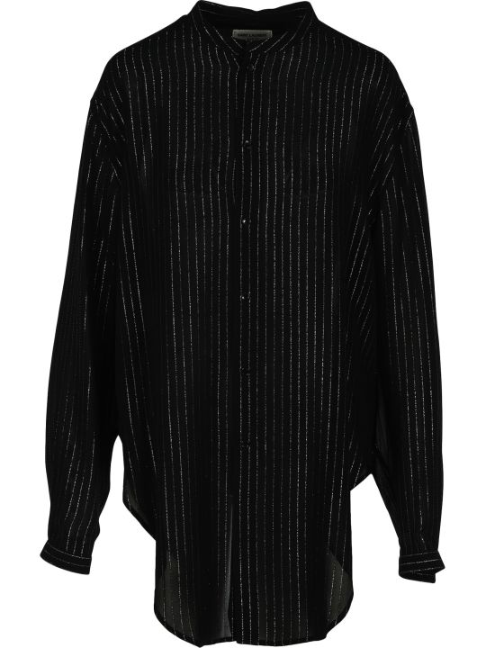 Saint Laurent Laminated Striped Shirt