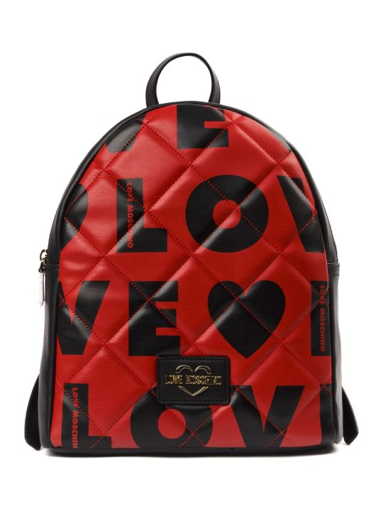 Love Moschino Love Red Quilted Faux Leather Backpack