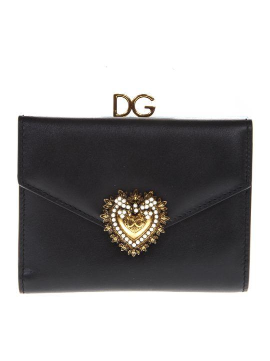 Dolce & Gabbana Devotion Wallet In Black Leather