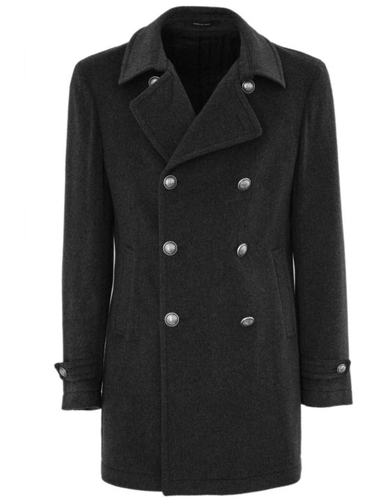 Tagliatore Grey Virgin Wool And Cashmere Coat.