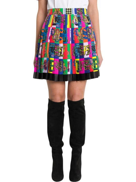 Versace Logo Print Pleated Mini Skirt