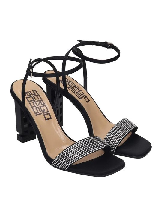 Sergio Rossi Sandals In Black Satin