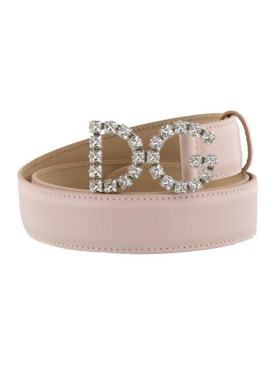 Dolce & Gabbana Logo Crystals Belt