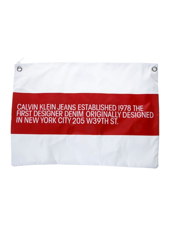 Calvin Klein Jeans Ck Jeans White Contrasting Logo Clutch