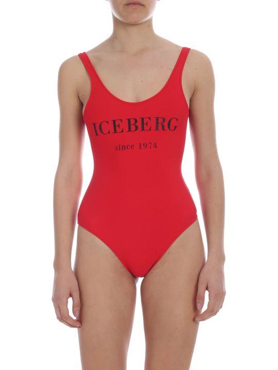 Iceberg Logo Print Swimsuit