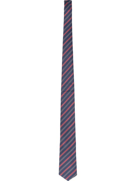 BOSS Black Silk Tie With Striped Pattern