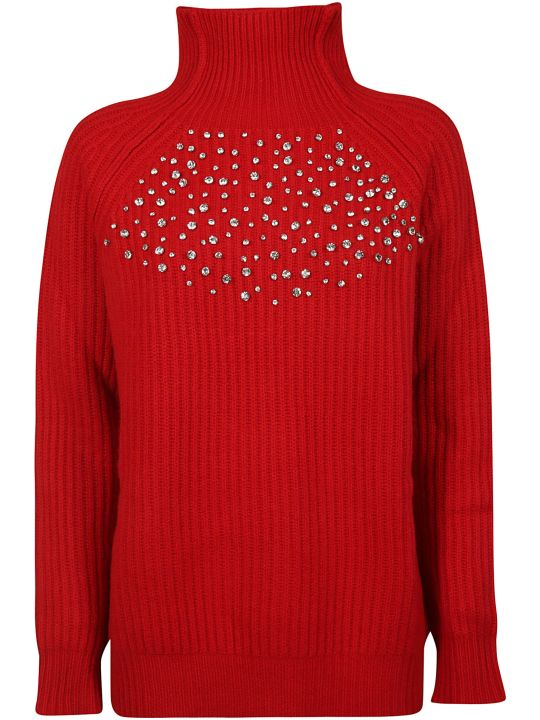 Be Blumarine Crystal Embellished Ribbed Sweater