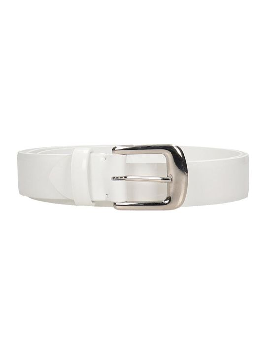 Maison Margiela Belts In White Leather