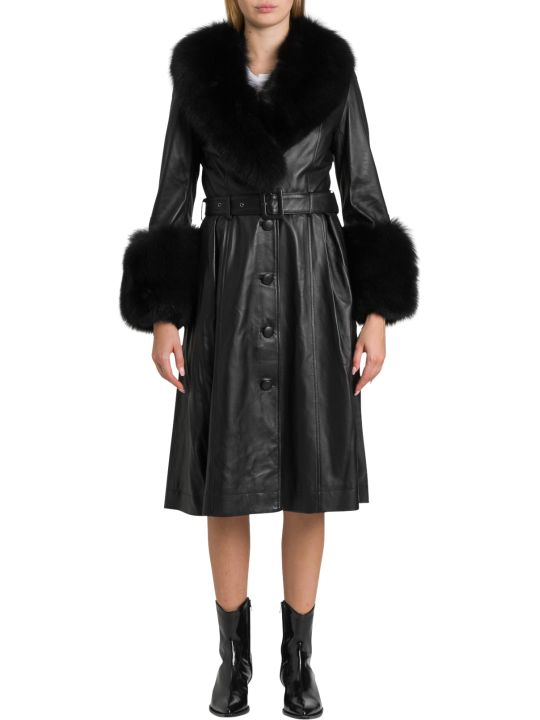 Saks Potts Long Belted Nappa Coat With Fox Fur Trimming