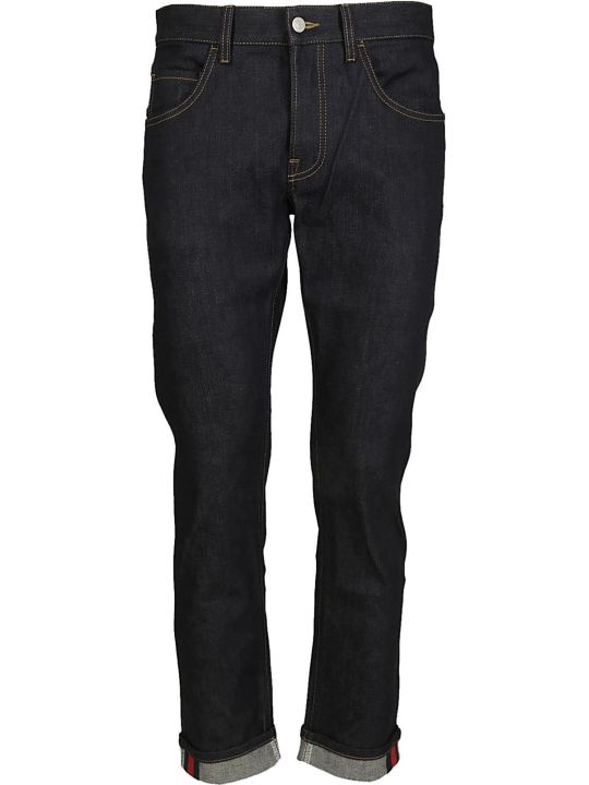 Gucci Tapered Denim Pant With Web In Blue