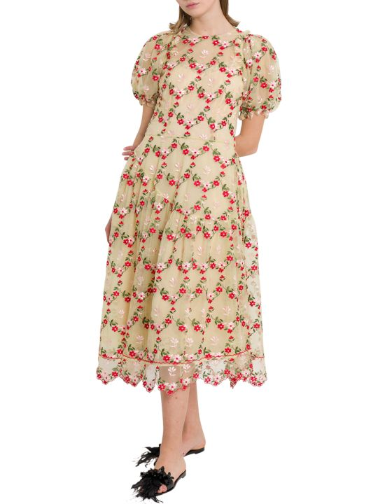 Simone Rocha Floral-embroidered Tulle Midi Dress