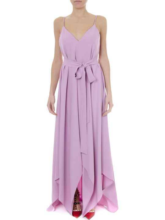 Valentino Long Flared Pink Silk No Sleeves Dress
