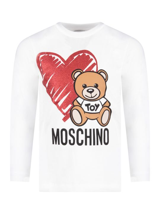 Moschino White Girl T-shirt With Teddy Bear And Heart