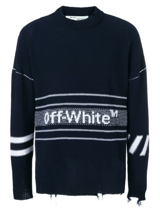Off-White Logo Distressed Sweater